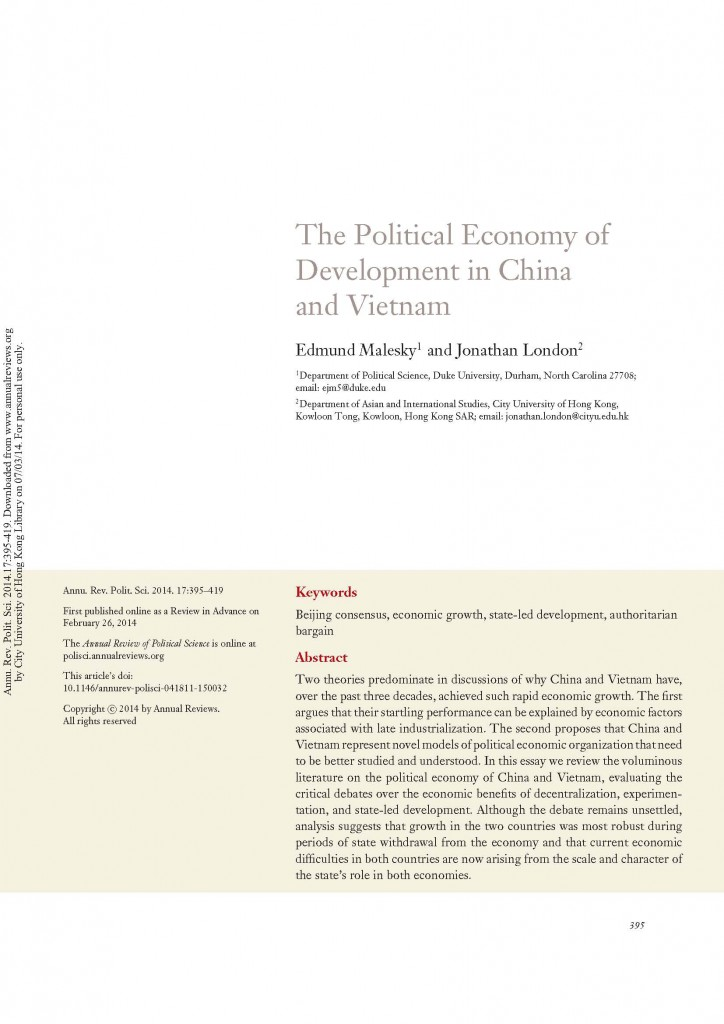 Malesky London 2014 The Political Economy of Development in China and Vietnam